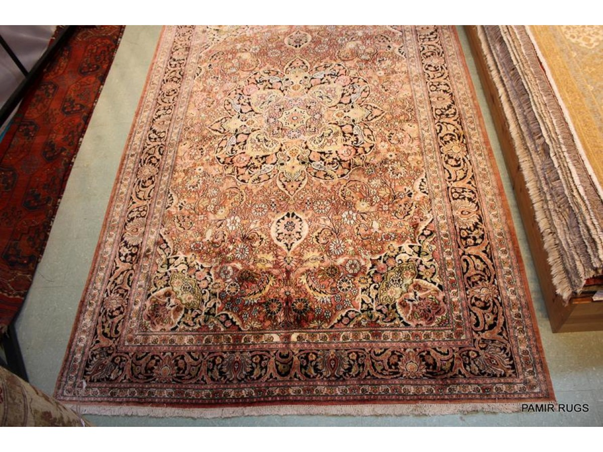 Sold Out 7 X 11 Kashmir Silk Rug Tabriz Design Handmade Hand Knotted