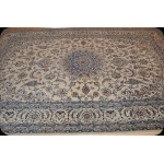7' X 10' Beige Background Blue Handmade Persian Nain Silk & Wool Rug