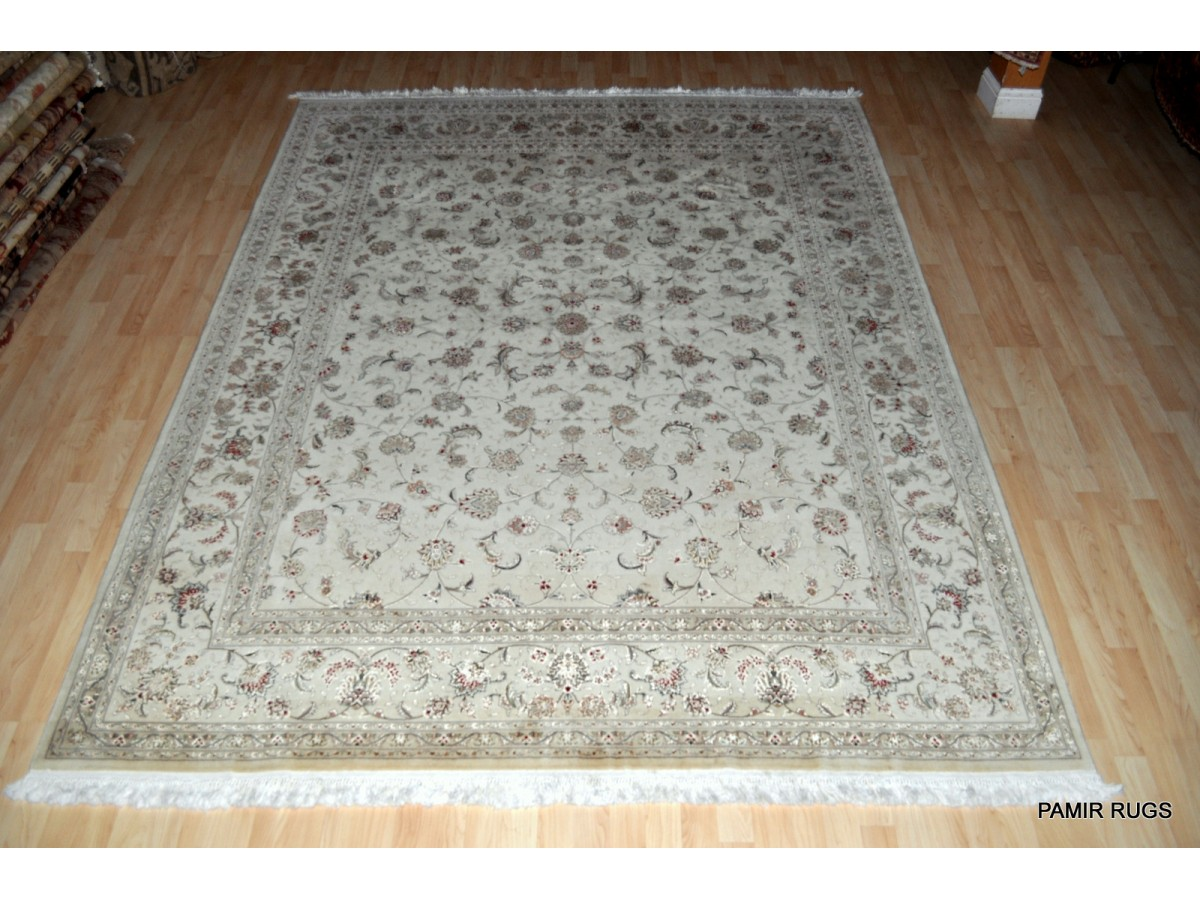 11 X 8 Wool Silk White Background Persian Tabriz Design Rug On