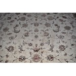8' X 10' Wool and Silk White Background Persian Tabriz Design Rug