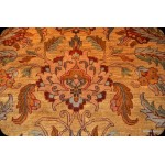 Light Brown Handmade 9' X 12' Thick Floral Persian Rug