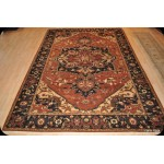 Elegant 9' x 12' Persian Heriz Serapi Vegetable Dye Rust Color Rug