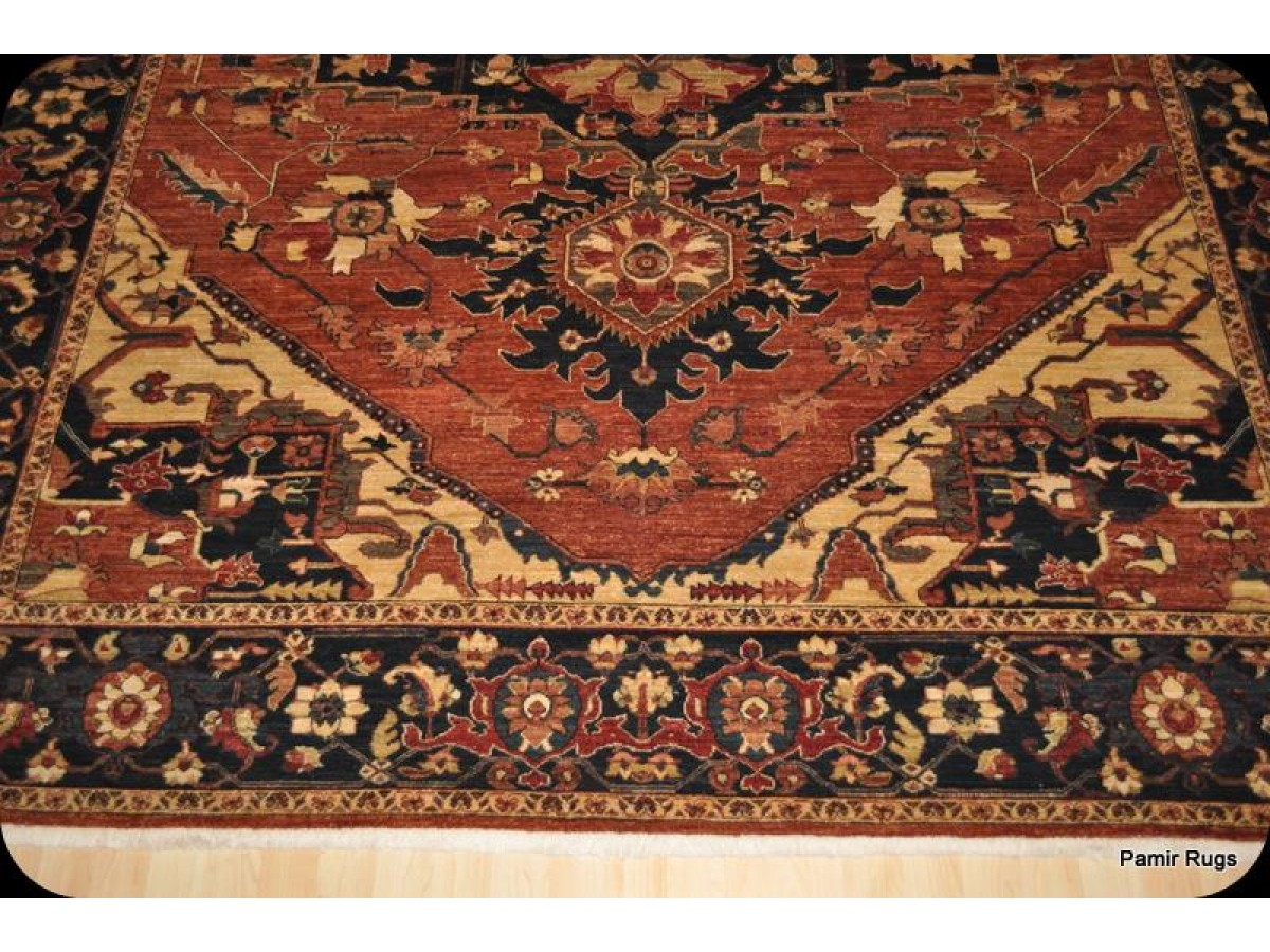 9 X 12 Persian Heriz Vegetable Dye Chobi With Rust Color