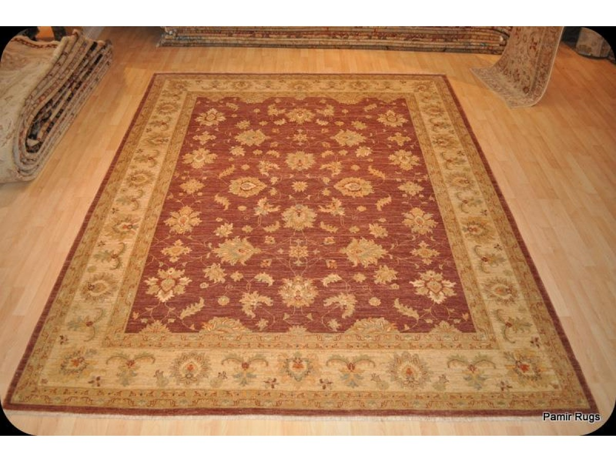 Afghan Vegetable Dyed Chobi Rug Red Background 9 X 12