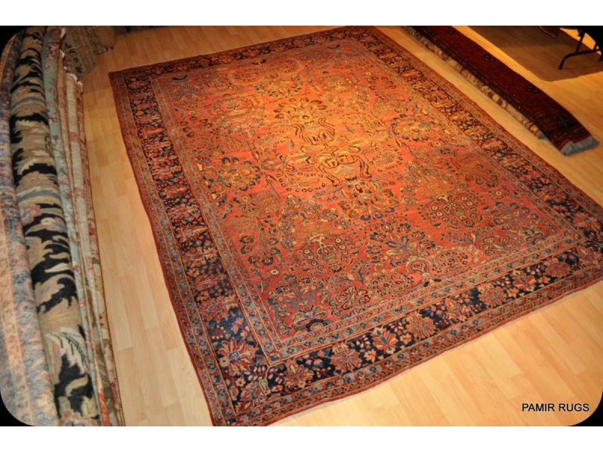 9 X 12 Antique Persian Sarouk Genuine Handmade Rug Circa