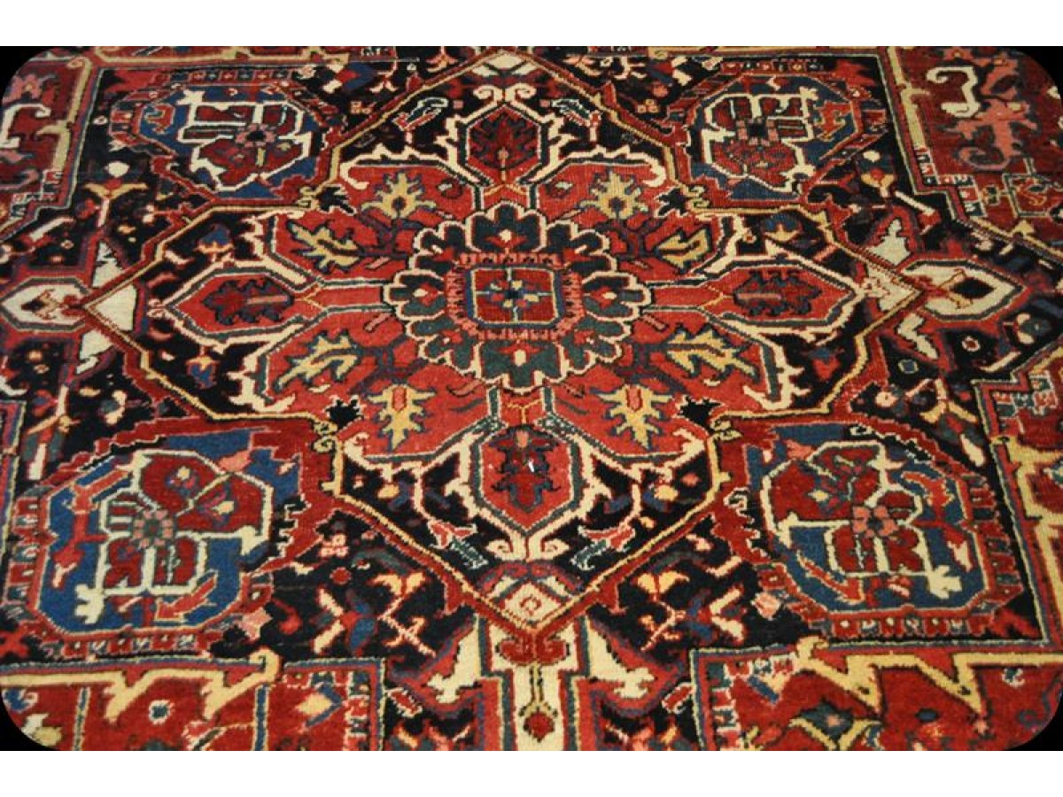Authentic Persian Heriz Rug Circa 1910 S In Very Good