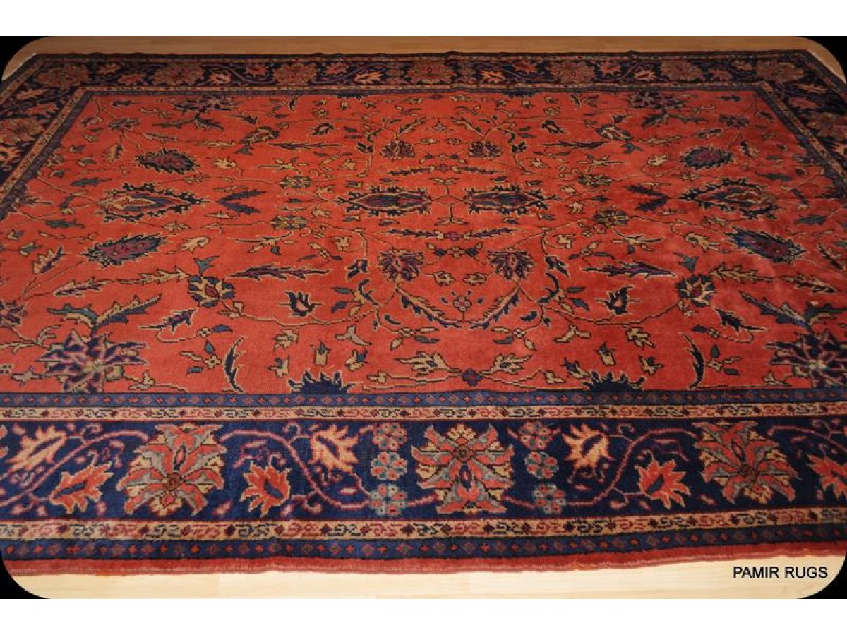 Large Room Size Antique Persian Mahal With Orange Red