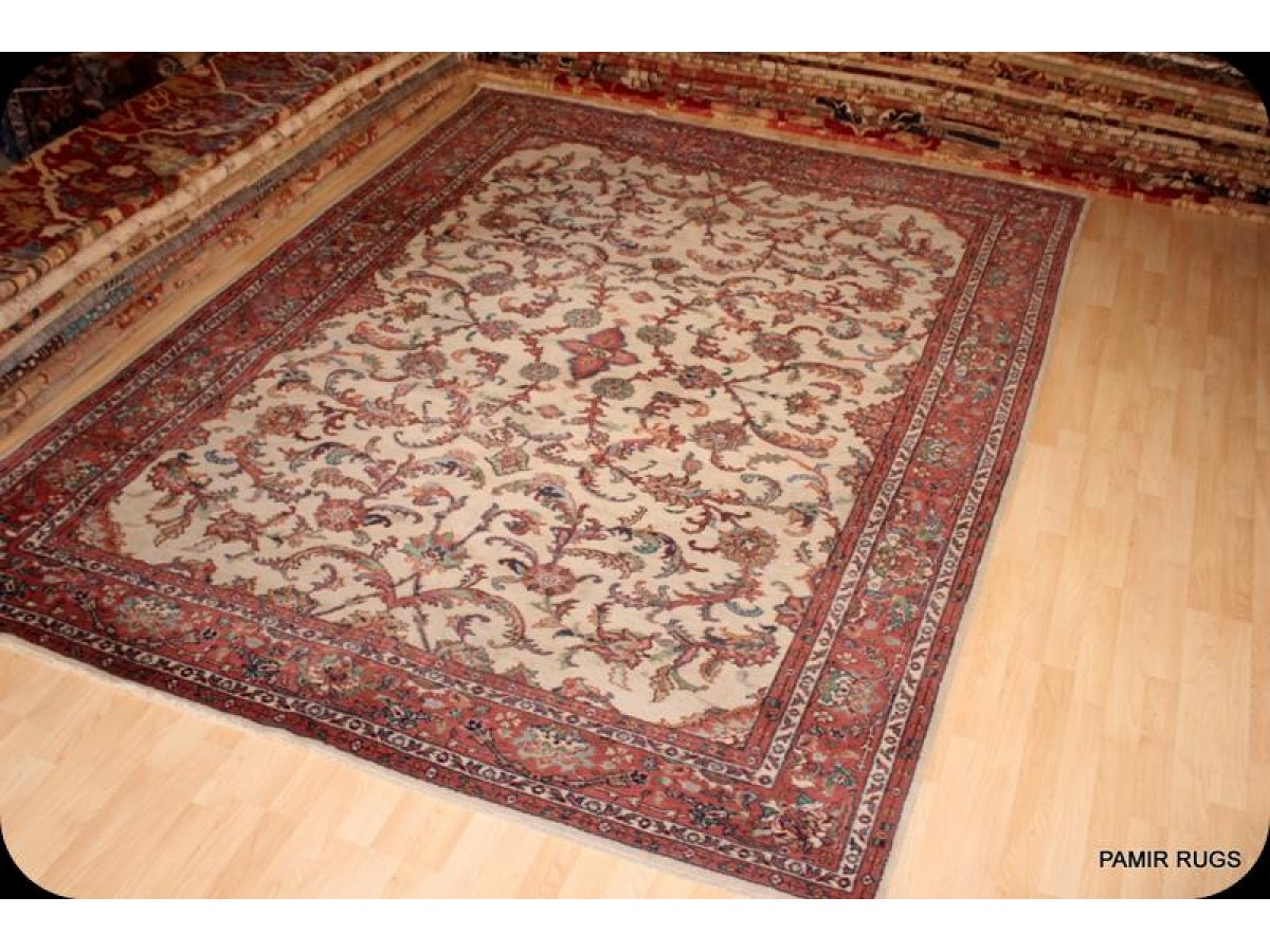 Wonderful 9' X 12' Traditional Persian Beige Background Hand Made Woven Rug  IH66