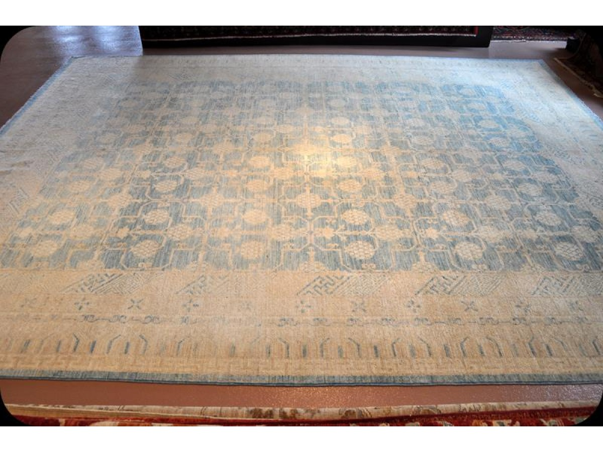 Handmade Vegetable Dye Persian Powder Light Blue 9 X 12 Wool Rug From Elegantorientalrugs Com