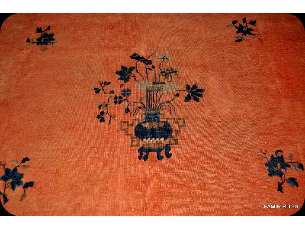 9 X 12 Chinese Coral Color Art Deco Design One Of A Kind