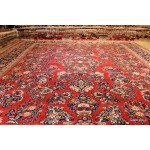 9' X 12' Handmade Vintage Antique Rug Red Background Floral Design