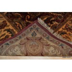 Dark Red Background Elegant Floral Rug